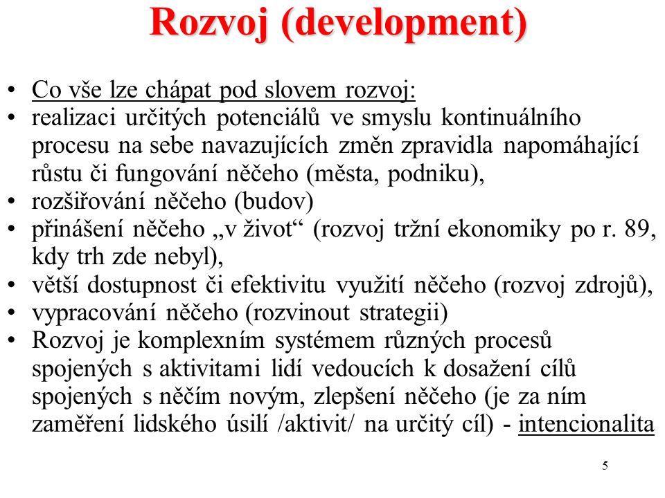 """5 Rozvoj (development) Co vše lze chápat pod slovem rozvoj: realizaci určitých potenciálů ve smyslu kontinuálního procesu na sebe navazujících změn zpravidla napomáhající růstu či fungování něčeho (města, podniku), rozšiřování něčeho (budov) přinášení něčeho """"v život (rozvoj tržní ekonomiky po r."""