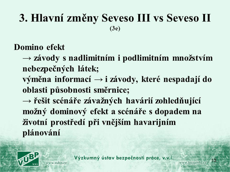 13 3. Hlavní změny Seveso III vs Seveso II (3e) Domino efekt → závody s nadlimitním i podlimitním množstvím nebezpečných látek; výměna informací → i z