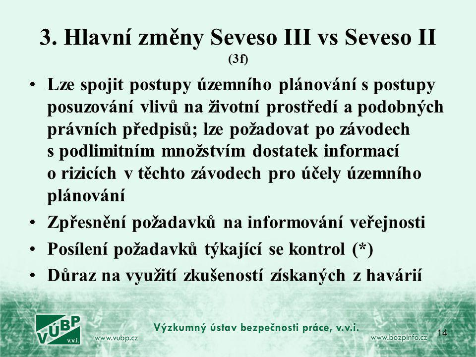 14 3. Hlavní změny Seveso III vs Seveso II (3f) Lze spojit postupy územního plánování s postupy posuzování vlivů na životní prostředí a podobných práv
