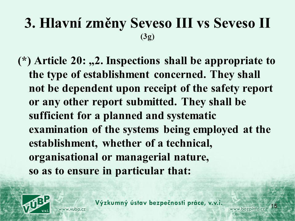 "15 3.Hlavní změny Seveso III vs Seveso II (3g) (*) Article 20: ""2."