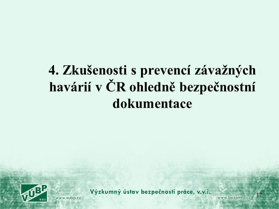 17 4. Zkušenosti s prevencí závažných havárií v ČR ohledně bezpečnostní dokumentace