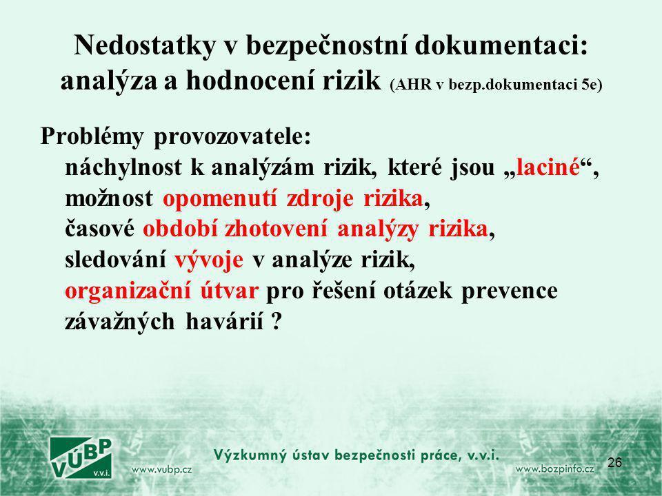"""26 Nedostatky v bezpečnostní dokumentaci: analýza a hodnocení rizik (AHR v bezp.dokumentaci 5e) Problémy provozovatele: náchylnost k analýzám rizik, které jsou """"laciné , možnost opomenutí zdroje rizika, časové období zhotovení analýzy rizika, sledování vývoje v analýze rizik, organizační útvar pro řešení otázek prevence závažných havárií ?"""