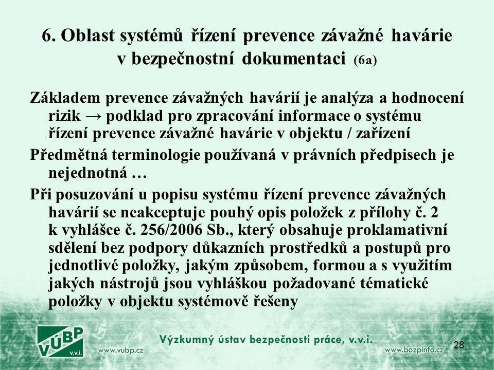 28 6. Oblast systémů řízení prevence závažné havárie v bezpečnostní dokumentaci (6a) Základem prevence závažných havárií je analýza a hodnocení rizik