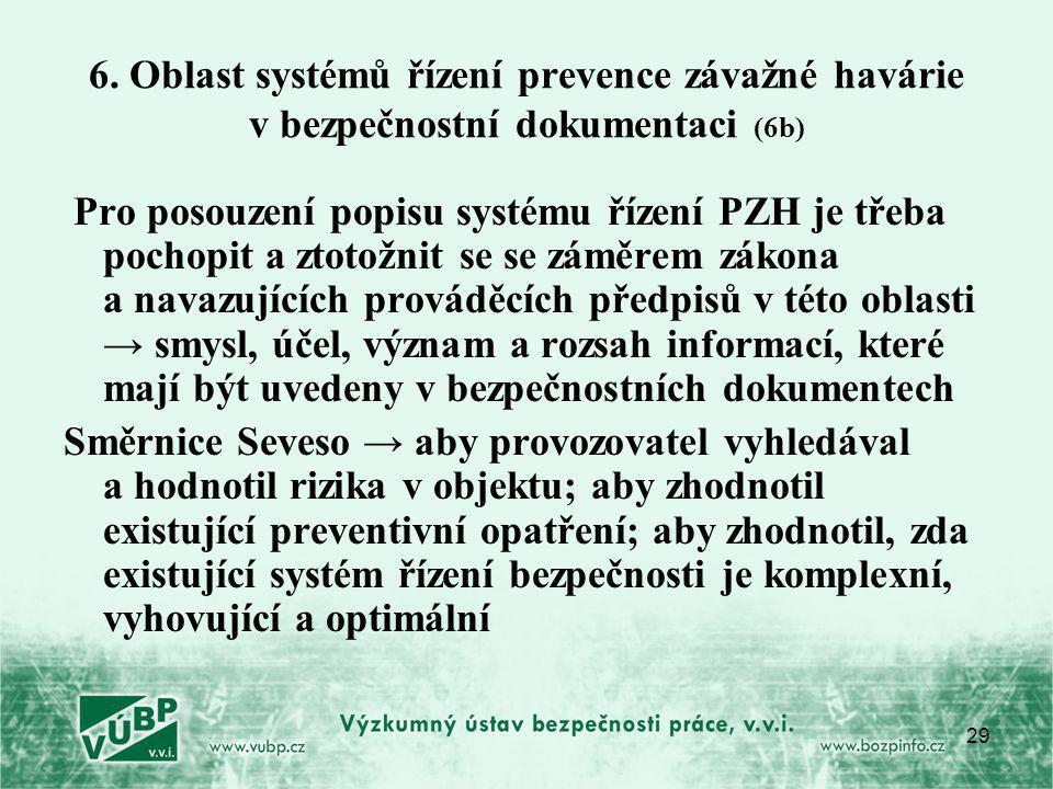 29 6. Oblast systémů řízení prevence závažné havárie v bezpečnostní dokumentaci (6b) Pro posouzení popisu systému řízení PZH je třeba pochopit a ztoto