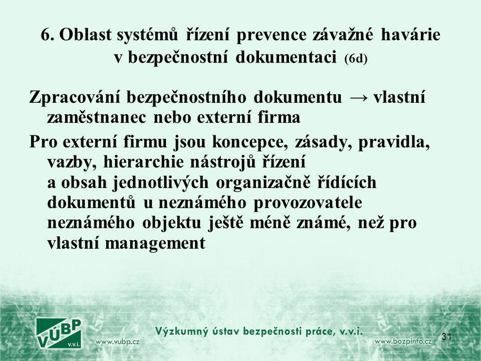 31 6. Oblast systémů řízení prevence závažné havárie v bezpečnostní dokumentaci (6d) Zpracování bezpečnostního dokumentu → vlastní zaměstnanec nebo ex