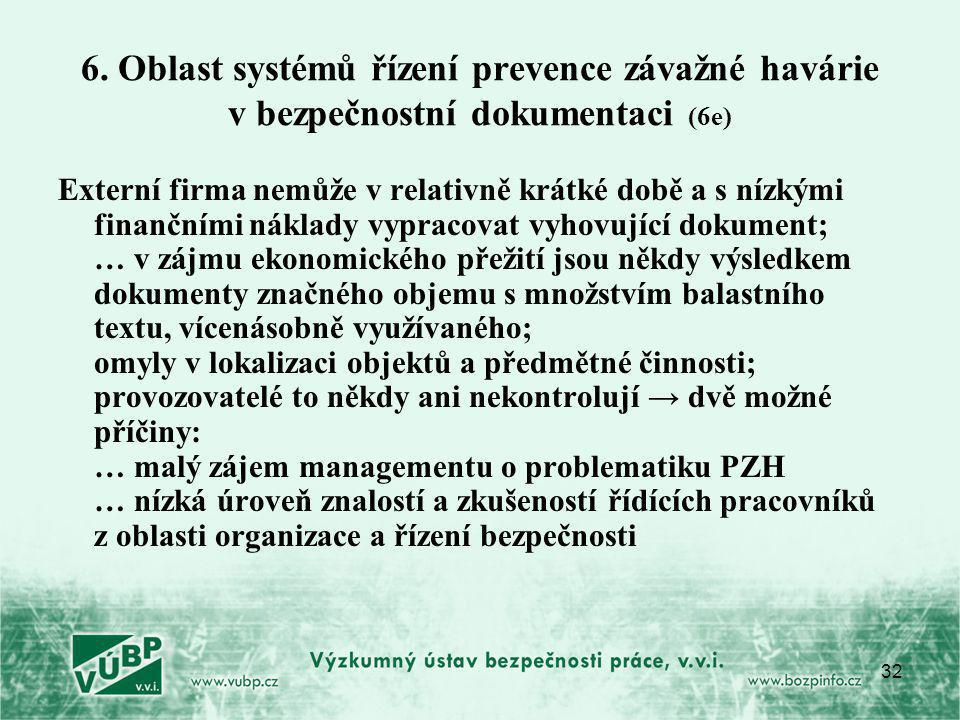 32 6. Oblast systémů řízení prevence závažné havárie v bezpečnostní dokumentaci (6e) Externí firma nemůže v relativně krátké době a s nízkými finanční