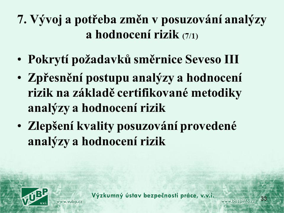 33 7. Vývoj a potřeba změn v posuzování analýzy a hodnocení rizik (7/1) Pokrytí požadavků směrnice Seveso III Zpřesnění postupu analýzy a hodnocení ri