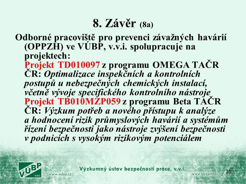 36 8. Závěr (8a) Odborné pracoviště pro prevenci závažných havárií (OPPZH) ve VÚBP, v.v.i. spolupracuje na projektech: Projekt TD010097 z programu OME