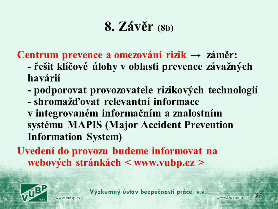 37 8. Závěr (8b) Centrum prevence a omezování rizik → záměr: - řešit klíčové úlohy v oblasti prevence závažných havárií - podporovat provozovatele riz