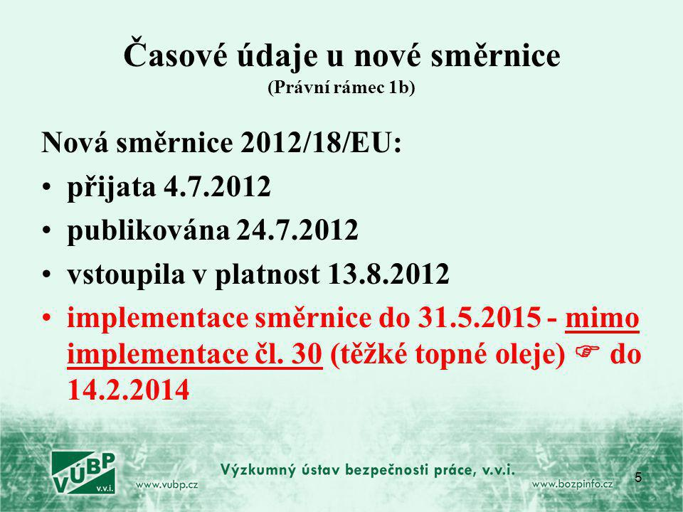 5 Časové údaje u nové směrnice (Právní rámec 1b) Nová směrnice 2012/18/EU: přijata 4.7.2012 publikována 24.7.2012 vstoupila v platnost 13.8.2012 implementace směrnice do 31.5.2015 - mimo implementace čl.