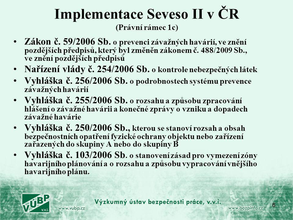 6 Implementace Seveso II v ČR (Právní rámec 1c) Zákon č. 59/2006 Sb. o prevenci závažných havárií, ve znění pozdějších předpisů, který byl změněn záko
