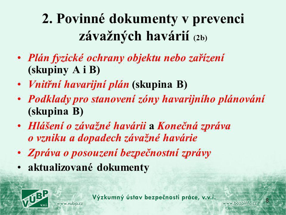 8 2. Povinné dokumenty v prevenci závažných havárií (2b) Plán fyzické ochrany objektu nebo zařízení (skupiny A i B) Vnitřní havarijní plán (skupina B)