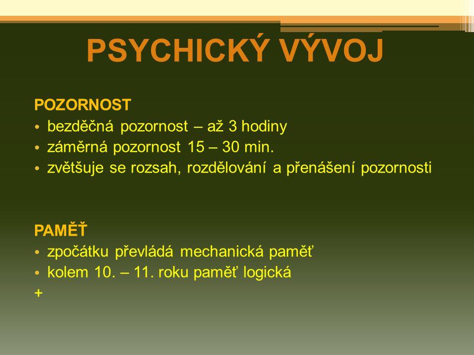 PSYCHICKÝ VÝVOJ MYŠLENÍ zpočátku konkrétní, názorné, situační a příčinné myšlení mezi 10.