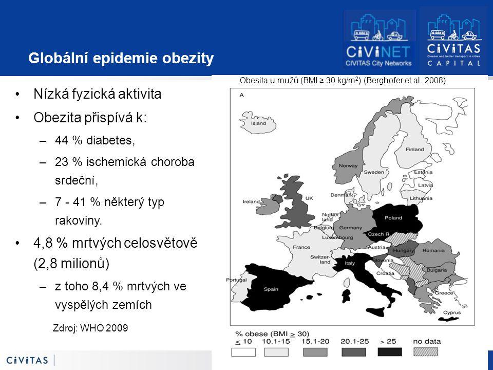 12 Zdroj: WHO 2009 Globální epidemie obezity Nízká fyzická aktivita Obezita přispívá k: –44 % diabetes, –23 % ischemická choroba srdeční, –7 - 41 % některý typ rakoviny.