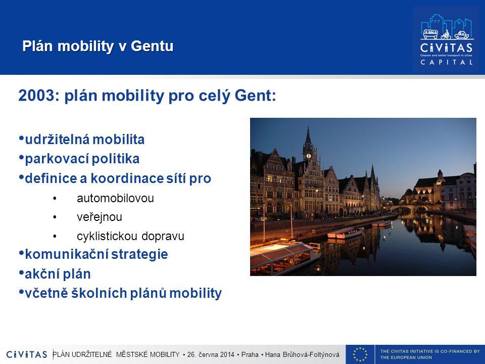 Plán mobility v Gentu Plán mobility v Gentu 2003: plán mobility pro celý Gent: udržitelná mobilita parkovací politika definice a koordinace sítí pro automobilovou veřejnou cyklistickou dopravu komunikační strategie akční plán včetně školních plánů mobility PLÁN UDRŽITELNÉ MĚSTSKÉ MOBILITY 26.