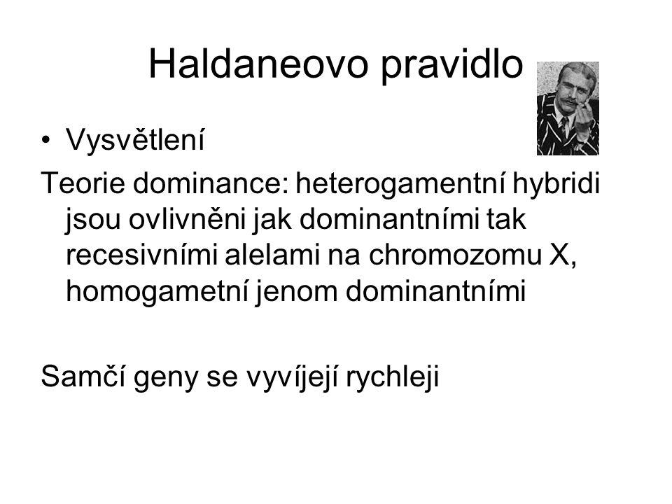 Haldaneovo pravidlo Vysvětlení Teorie dominance: heterogamentní hybridi jsou ovlivněni jak dominantními tak recesivními alelami na chromozomu X, homogametní jenom dominantními Samčí geny se vyvíjejí rychleji