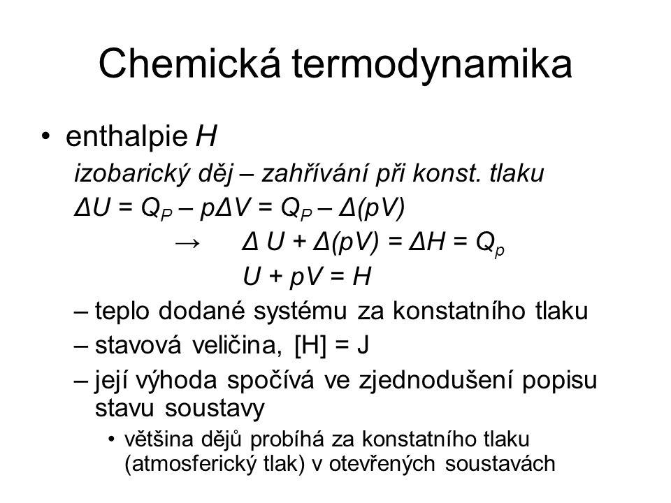 Chemická termodynamika enthalpie H izobarický děj – zahřívání při konst.