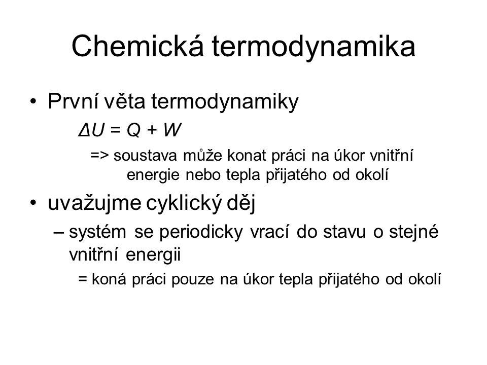 Chemická termodynamika První věta termodynamiky ΔU = Q + W => soustava může konat práci na úkor vnitřní energie nebo tepla přijatého od okolí uvažujme cyklický děj –systém se periodicky vrací do stavu o stejné vnitřní energii = koná práci pouze na úkor tepla přijatého od okolí