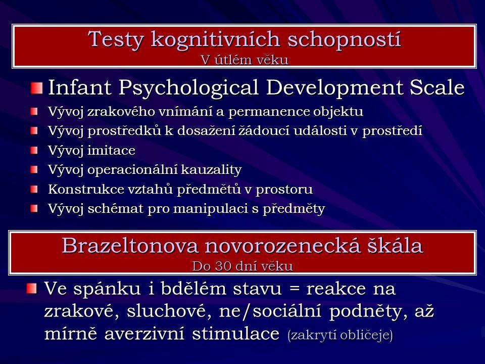 Infant Psychological Development Scale Vývoj zrakového vnímání a permanence objektu Vývoj prostředků k dosažení žádoucí události v prostředí Vývoj imi