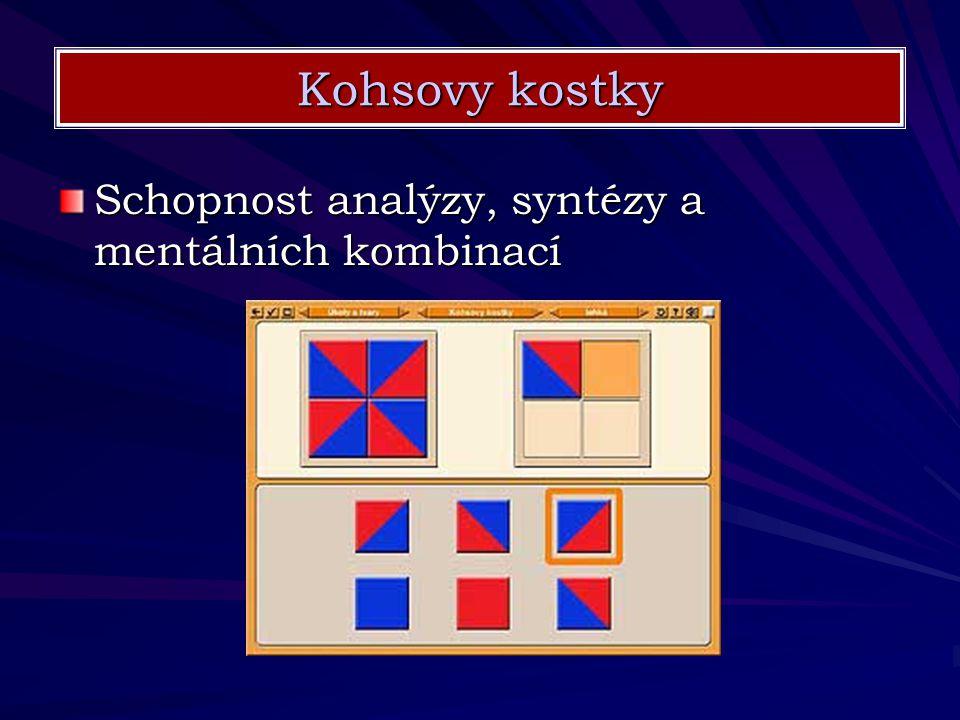 Schopnost analýzy, syntézy a mentálních kombinací Kohsovy kostky