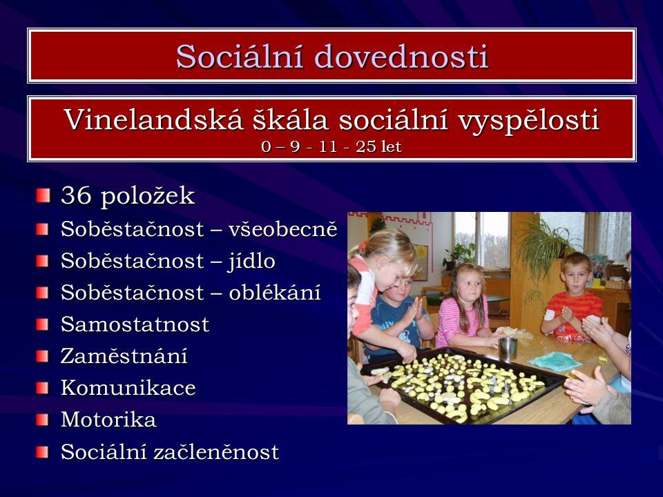 Sociální dovednosti Vinelandská škála sociální vyspělosti 0 – 9 - 11 - 25 let 36 položek Soběstačnost – všeobecně Soběstačnost – jídlo Soběstačnost –