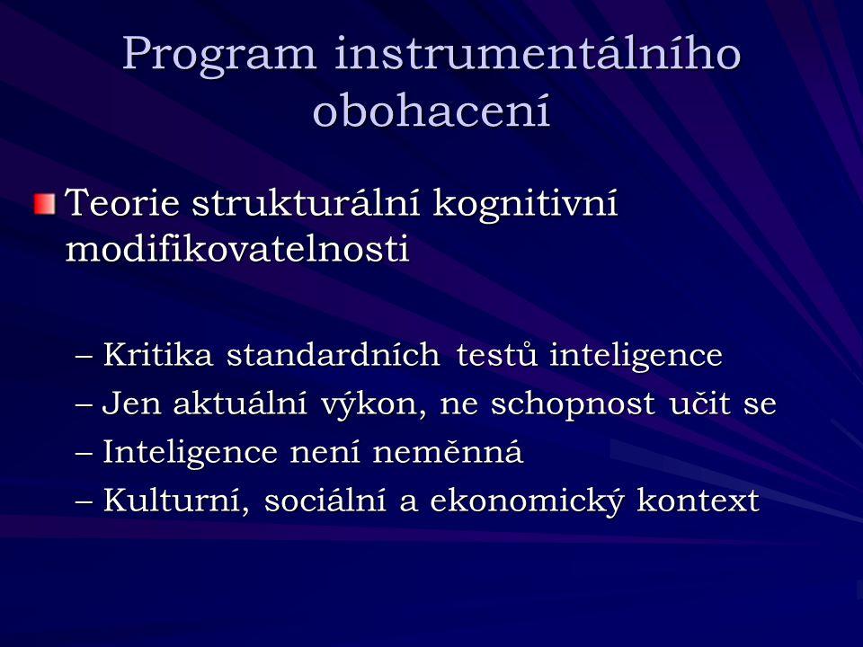 Program instrumentálního obohacení Teorie strukturální kognitivní modifikovatelnosti –Kritika standardních testů inteligence –Jen aktuální výkon, ne s
