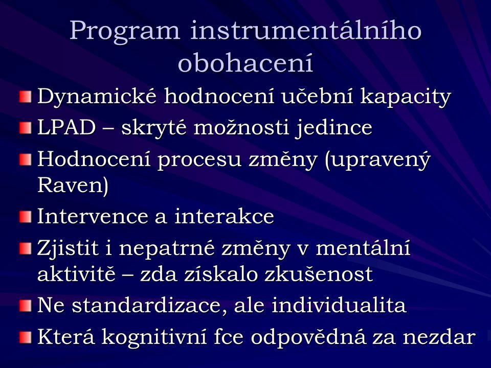 Program instrumentálního obohacení Dynamické hodnocení učební kapacity LPAD – skryté možnosti jedince Hodnocení procesu změny (upravený Raven) Interve