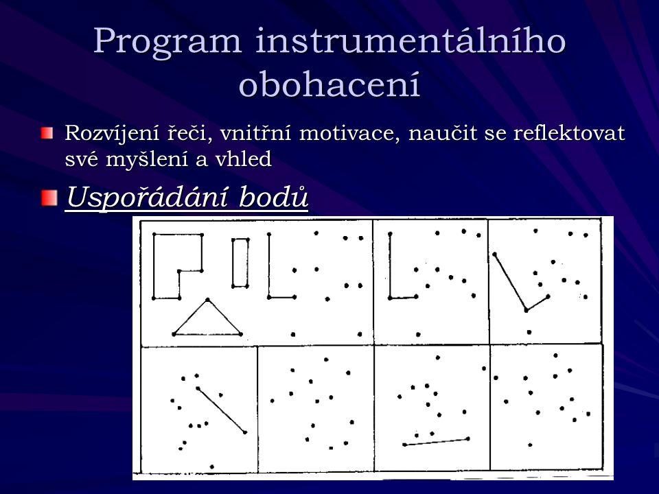 Program instrumentálního obohacení Rozvíjení řeči, vnitřní motivace, naučit se reflektovat své myšlení a vhled Uspořádání bodů