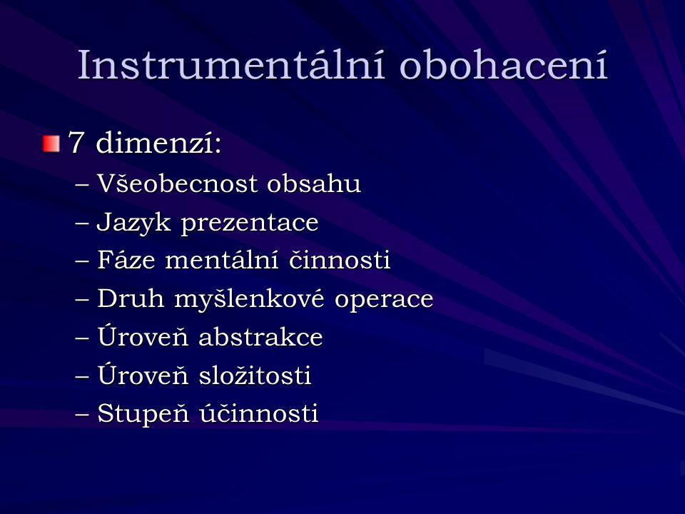 Instrumentální obohacení 7 dimenzí: –Všeobecnost obsahu –Jazyk prezentace –Fáze mentální činnosti –Druh myšlenkové operace –Úroveň abstrakce –Úroveň s