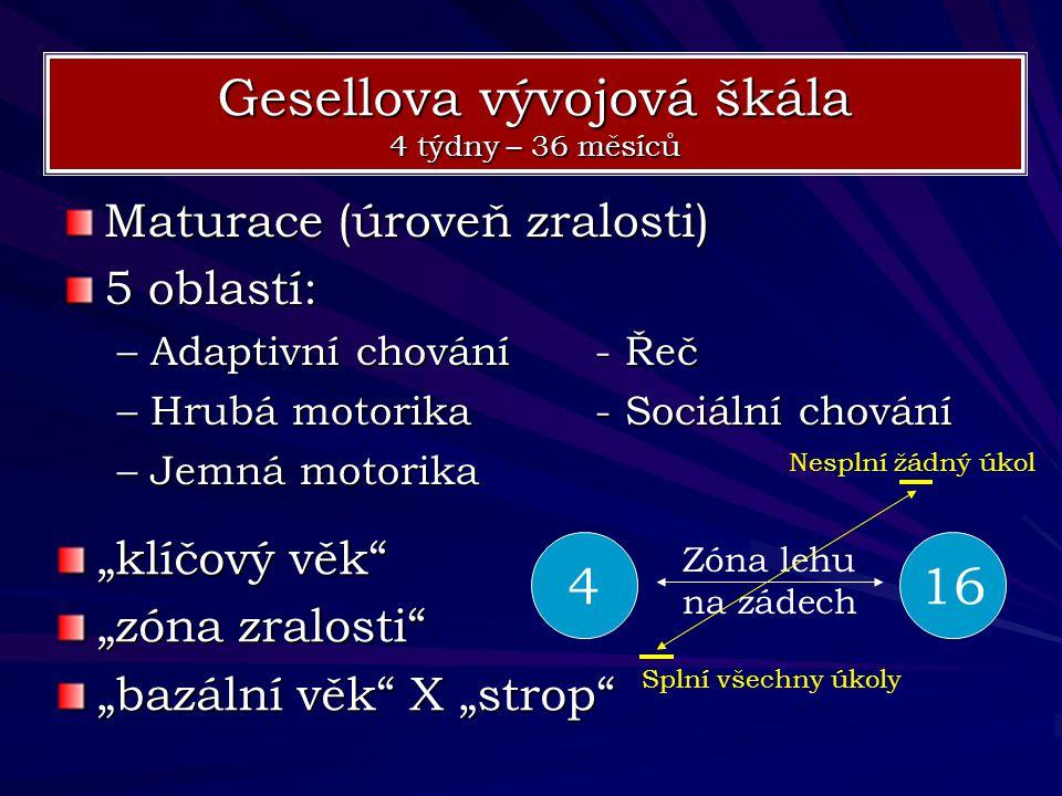 Maturace (úroveň zralosti) 5 oblastí: –Adaptivní chování- Řeč –Hrubá motorika- Sociální chování –Jemná motorika Gesellova vývojová škála 4 týdny – 36