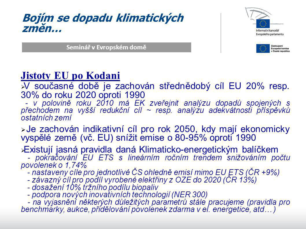 Bojím se dopadu klimatických změn… Seminář v Evropském domě Jistoty EU po Kodani  V současné době je zachován střednědobý cíl EU 20% resp.