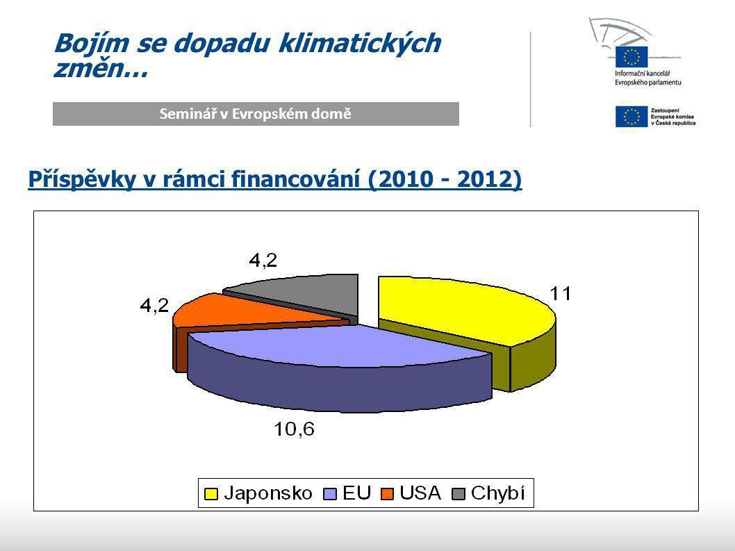 Bojím se dopadu klimatických změn… Seminář v Evropském domě Příspěvky v rámci financování (2010 - 2012)