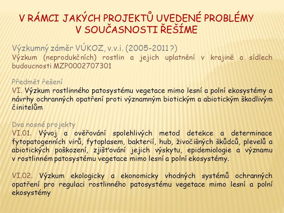VI.01.1. Sledování rostlinolékařských problémů u jednotlivých rodů dřevin a bylin v ČR 2.