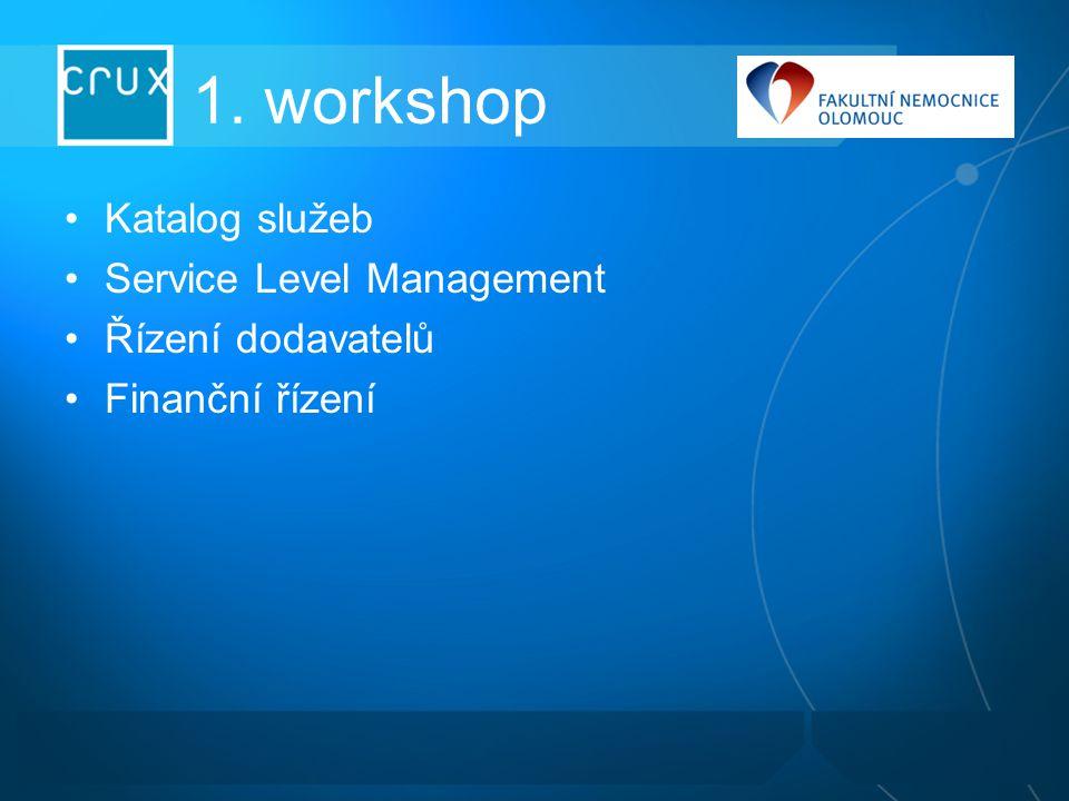 1. workshop Katalog služeb Service Level Management Řízení dodavatelů Finanční řízení