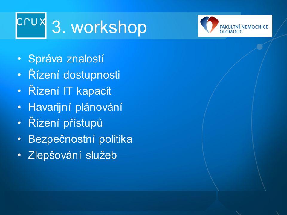 3. workshop Správa znalostí Řízení dostupnosti Řízení IT kapacit Havarijní plánování Řízení přístupů Bezpečnostní politika Zlepšování služeb