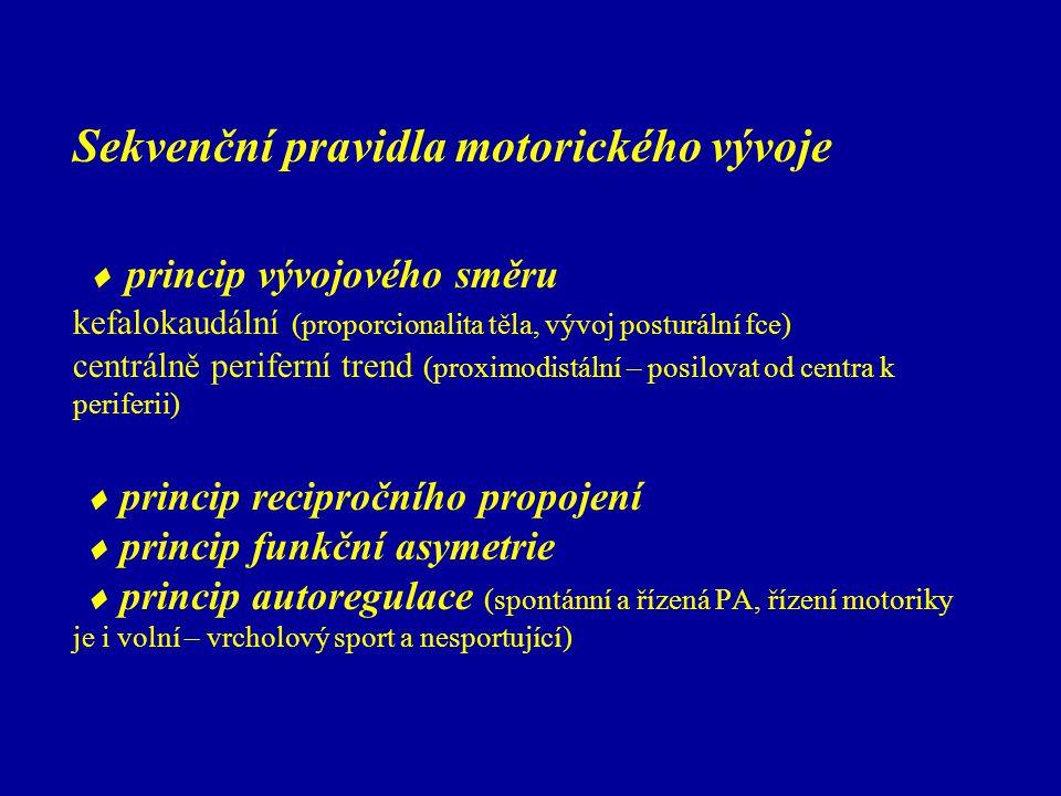 Sekvenční pravidla motorického vývoje  princip vývojového směru kefalokaudální (proporcionalita těla, vývoj posturální fce) centrálně periferní trend