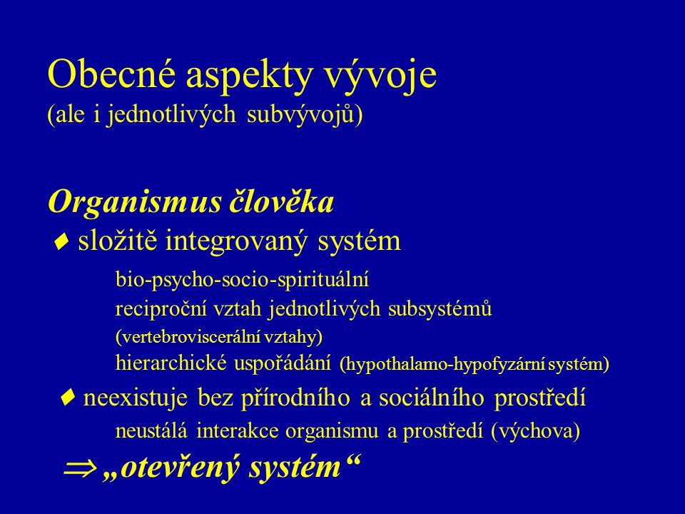 Obecné aspekty vývoje (ale i jednotlivých subvývojů) Organismus člověka  složitě integrovaný systém bio-psycho-socio-spirituální reciproční vztah jed