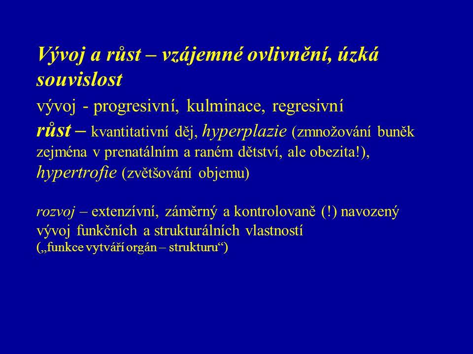 Vývoj a růst – vzájemné ovlivnění, úzká souvislost vývoj - progresivní, kulminace, regresivní růst – kvantitativní děj, hyperplazie (zmnožování buněk