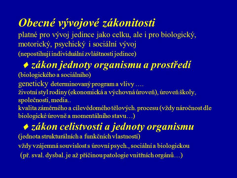 Obecné vývojové zákonitosti platné pro vývoj jedince jako celku, ale i pro biologický, motorický, psychický i sociální vývoj (nepostihují individuální