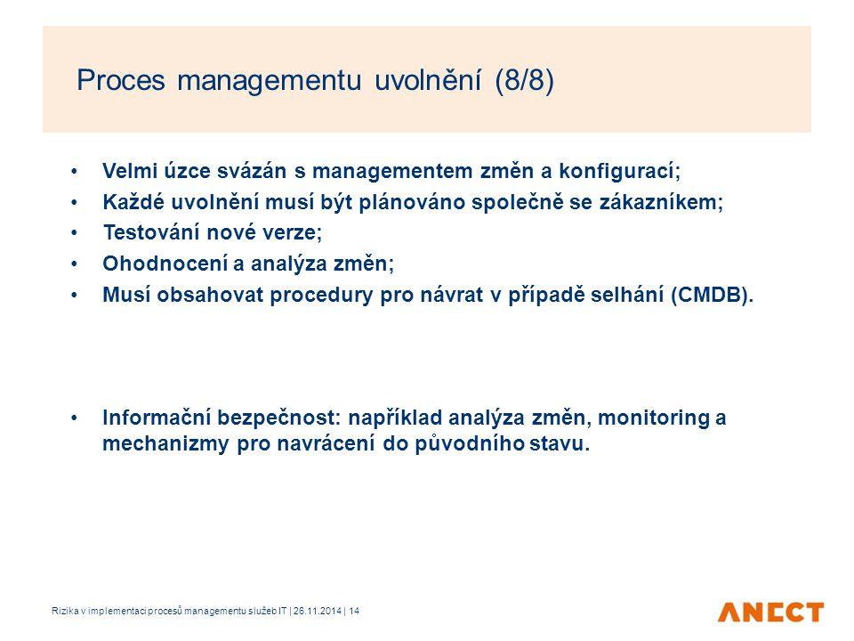 Velmi úzce svázán s managementem změn a konfigurací; Každé uvolnění musí být plánováno společně se zákazníkem; Testování nové verze; Ohodnocení a anal