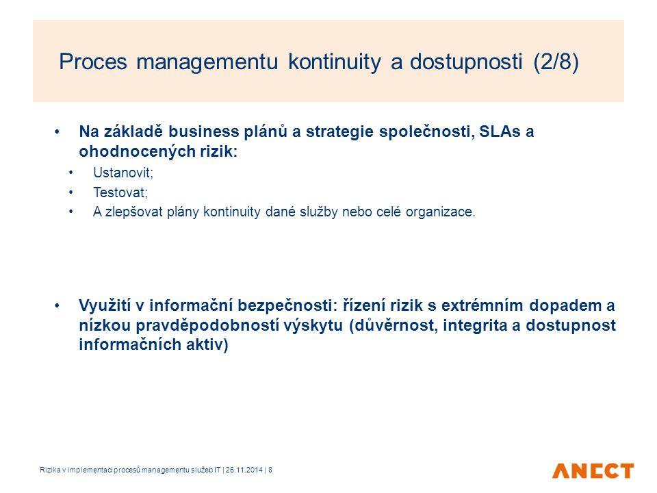 Na základě business plánů a strategie společnosti, SLAs a ohodnocených rizik: Ustanovit; Testovat; A zlepšovat plány kontinuity dané služby nebo celé