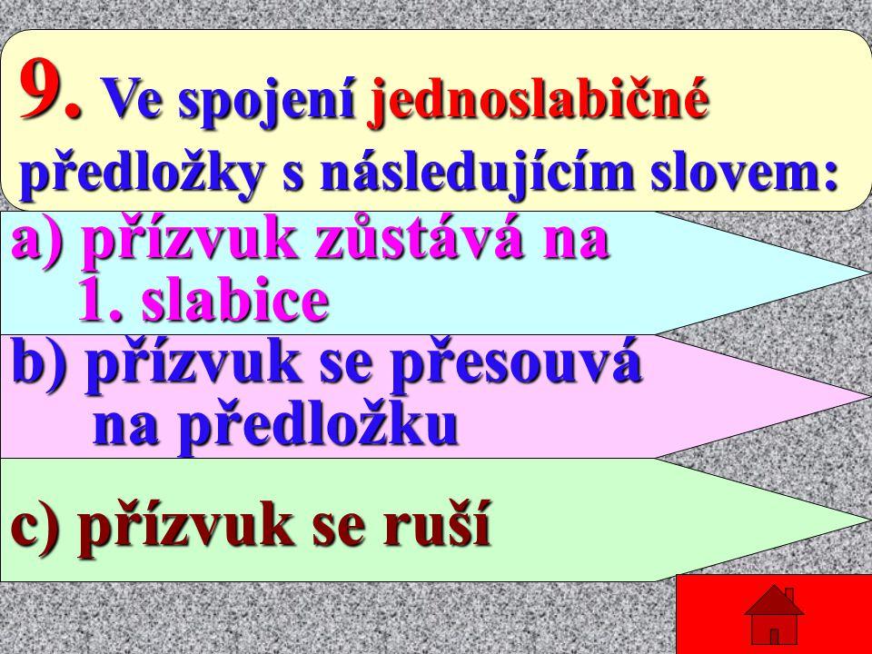 8. Hlavní přízvuk v českých slovech je: slovech je: a) na druhé slabice a) na druhé slabice b) na první slabice b) na první slabice c) je pohyblivý c)