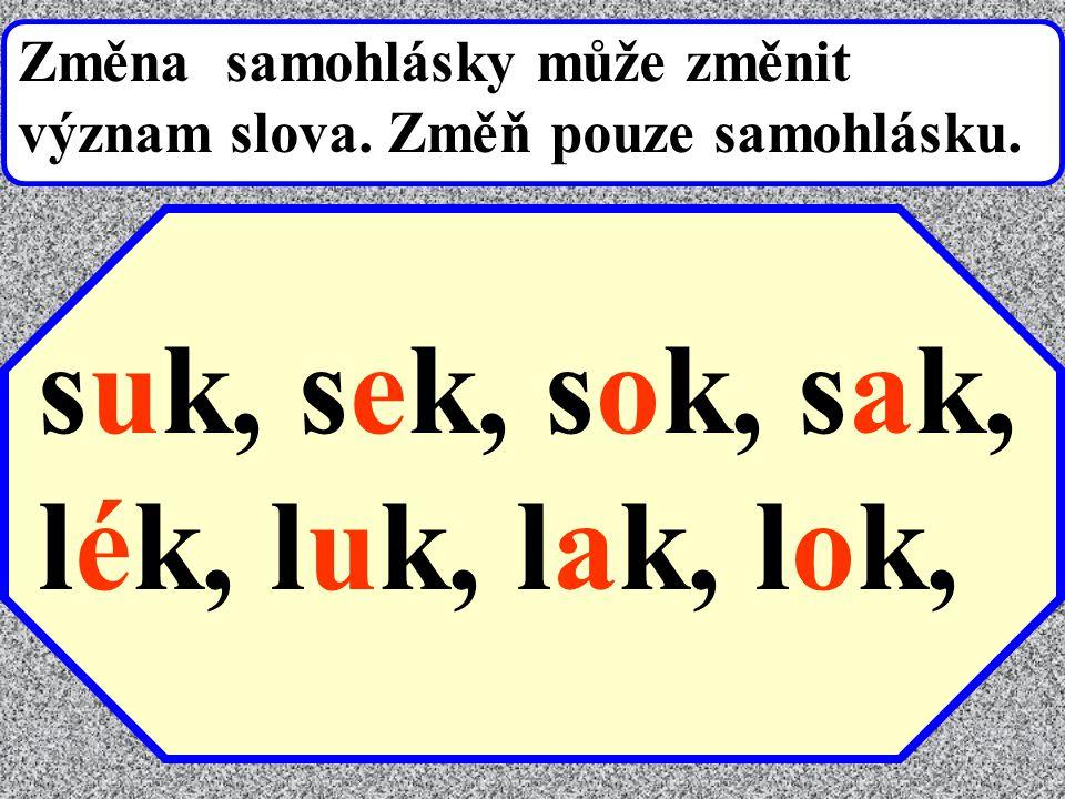 Změna samohlásky může změnit význam slova. Změň pouze samohlásku. suk, s-k, s-k, s-k, lék, l-k, l-k, l-k,