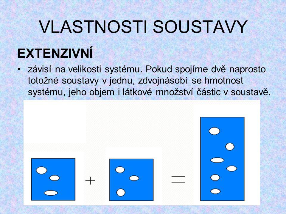 VLASTNOSTI SOUSTAVY EXTENZIVNÍ závisí na velikosti systému.