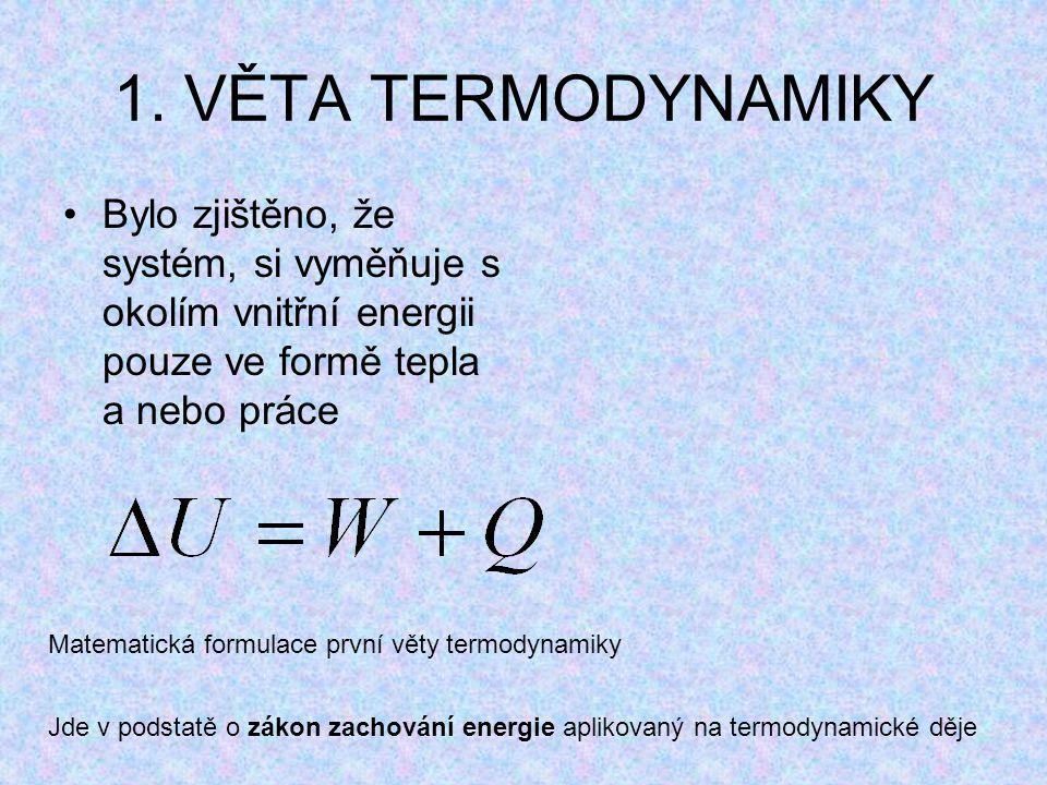1. VĚTA TERMODYNAMIKY Bylo zjištěno, že systém, si vyměňuje s okolím vnitřní energii pouze ve formě tepla a nebo práce Matematická formulace první vět