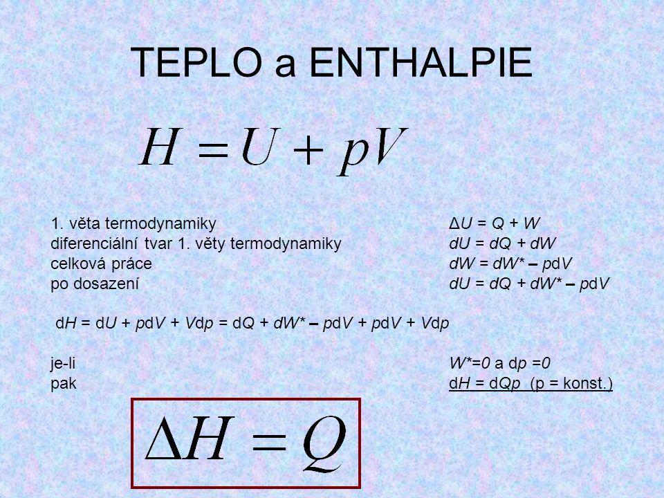 TEPLO a ENTHALPIE 1. věta termodynamikyΔU = Q + W diferenciální tvar 1. věty termodynamikydU = dQ + dW celková práce dW = dW* – pdV po dosazení dU = d