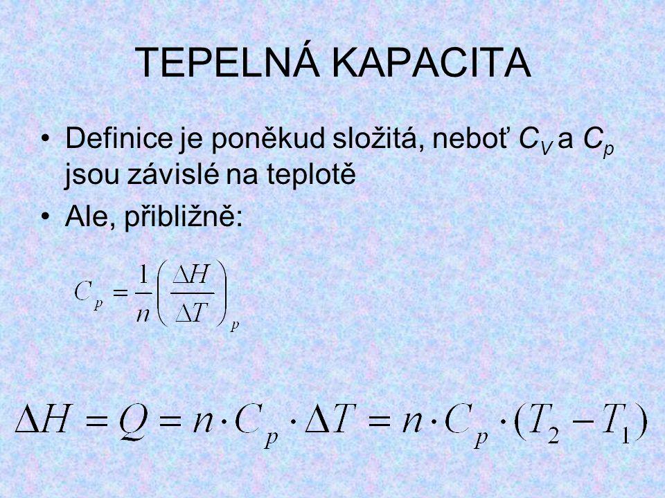 Definice je poněkud složitá, neboť C V a C p jsou závislé na teplotě Ale, přibližně: TEPELNÁ KAPACITA
