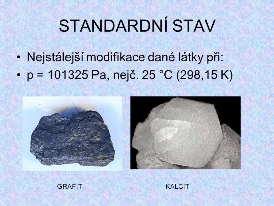 STANDARDNÍ STAV Nejstálejší modifikace dané látky při: p = 101325 Pa, nejč. 25 °C (298,15 K) GRAFITKALCIT