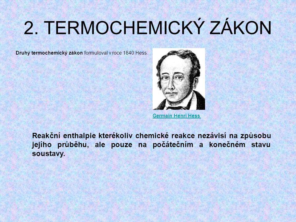 2. TERMOCHEMICKÝ ZÁKON Druhý termochemický zákon formuloval v roce 1840 Hess. Reakční enthalpie kterékoliv chemické reakce nezávisí na způsobu jejího