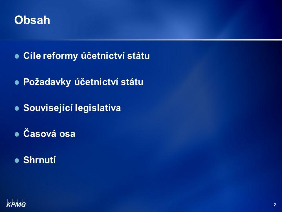 2 Obsah Cíle reformy účetnictví státu Požadavky účetnictví státu Související legislativa Časová osa Shrnutí